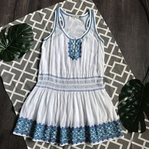Shoshanna White/Blue Embroidered Sleeveless Dress